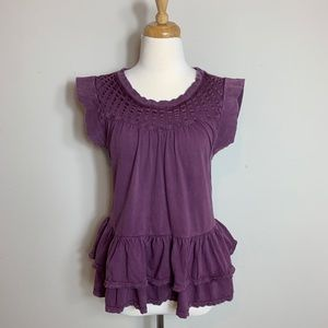 🎃 William Rast Purple Ruffled Blouse